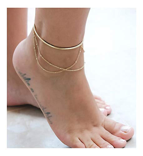Mevecco 3 Layered Anklet,14K Gold Filled Boho Cuff Wire Cute Tiny Beaded Satellite Charm Beach Handmade Dainty Foot Chain Bangle Ankle Bracelet for Women