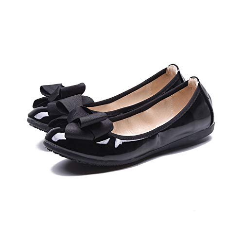 Cuero FLYRCX black Boca Plano Arco Redonda Planos Ballet Baja Primer Suave Negro Zapatos Zapatos Cabeza portátil Zapatos Plegable Trabajo 0UA0nH
