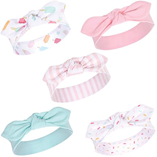 Hudson Baby Baby Girls' Cotton Headbands, Ice Cream 5 Pk, 0-24 Months
