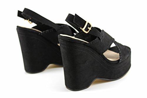 Modelisa - Sandalia Cuña Plataforma Mujer Negro