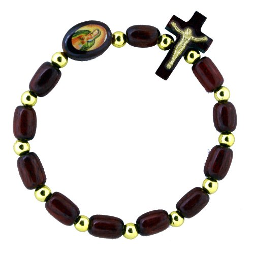 Our Lady of Guadalupe Wooden Bracelet by Catholica Shop | Rosary Decade Stretch | Wood Cross