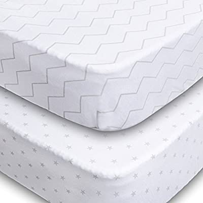 Crib Sheets - 2 Pack Fitted 100% Soft Jersey Cotton Sheet - Bedding with Unisex Chevron & Stars Custom Design - Fits Standard Mattress for Babies & Toddlers - Perfect Baby Shower Gift