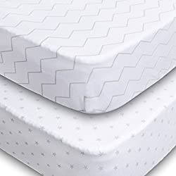 Crib Sheets, 2 Pack Unisex Chevron and Stars Fitted Soft Jersey Cotton Bedding