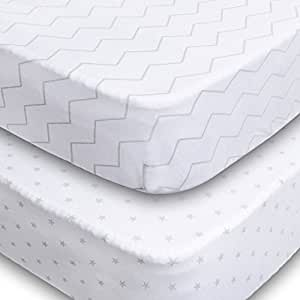 Crib Sheets, 2 Pack Fitted Soft Jersey Cotton Sheet, Bedding with Unisex Chevron and Stars Custom Design, Fits Standard Mattress for Babies and Toddlers