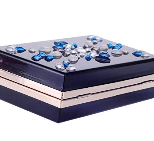 Europa Y Estados Unidos Moda Concha Dura Cadena Bolsa De Noche Diagonal Acrílico Paquete De Diamantes Bolsos Banquete Vestido Black