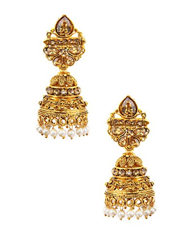 Rubans Gold Plated Contemporary Indian Bollywood Ethnic Wedding Bridal Rhinestone with Pearls Handcrafted Jhumka Earrings for ()