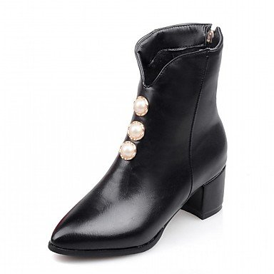 RTRY US6 Pearl 5 Novelty Ankle Leatherette Booties Pointed Shoes 5 Comfort Imitation 5 Winter UK4 Boots Chunky Boots EU37 Heel CN37 Toe Fall Fashion Boots 7 Pu Women'S rwRqr4