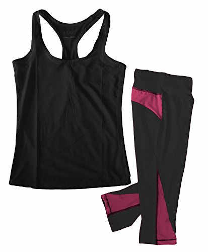 W SPORT Women's Moisture Wick Athletic Yoga Tank Top & Capri Leggings, Black and Raspberry, Medium