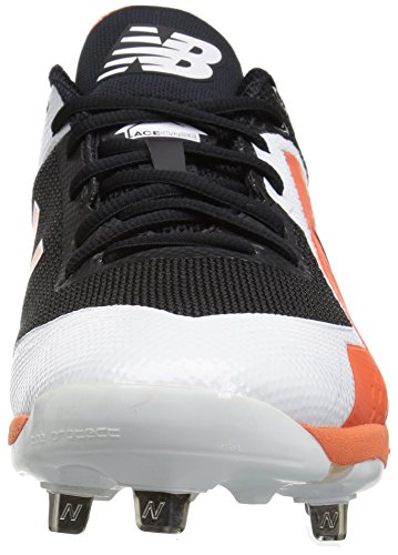 New Balance Herren L4040v4 Metall Baseball-Schuh Schwarz / Orange