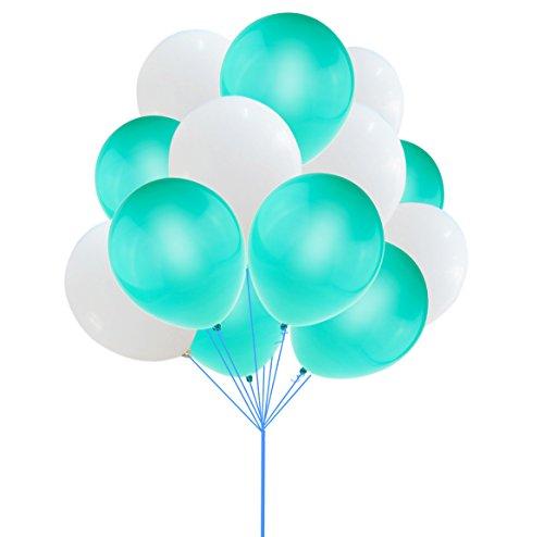 UTOPP 12 Inches White Sea Foam Aqua Balloons Thick Latex Helium Balloons 9.88 Oz/bag for Christmas Carnival Festival Birthday Party Pack of (Halloween Air Blaster)