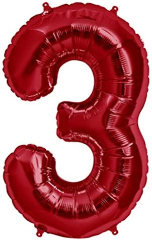 Tellpet Red Number 3 Balloon 40 Inch