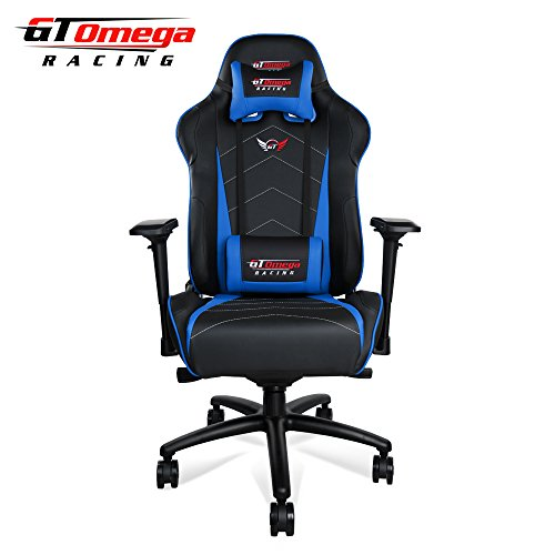GT Omega PRO XL Racing Office Chair Black and Blue Leather Esport Gaming seat