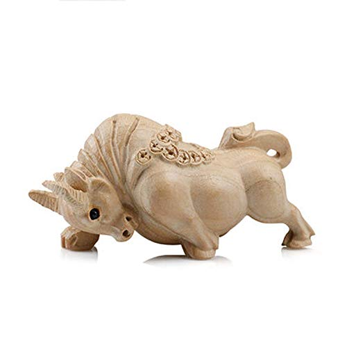 LINGS Chinese Zodiac Statues Wood Carving Guardian,Feng Shui Decor,for Home and Office Attract Wealth and Good Luck,Best Housewarming Congratulatory Gift,Ox