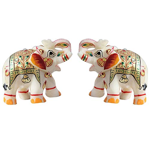 - Fashion Bizz Indian Handicraft Home Decor Marble Meena Elephant Pair 2