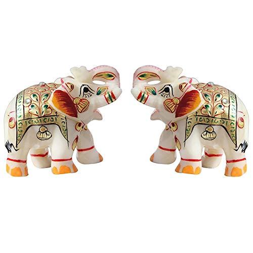Fashion Bizz Indian Handicraft Home Decor Marble Meena Elephant Pair - Marble Elephant