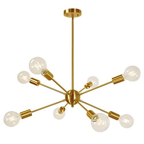 - Sputnik Chandelier 8-Lights Brass Modern Pendant Lighting Mid Century Chandelier Semi Flush Mount Ceiling Light for Bedroom Living Foyer UL Listed