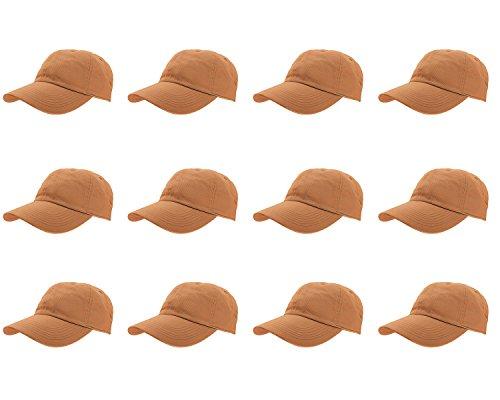 (Gelante Baseball Caps 100% Cotton Plain Blank Adjustable Size Wholesale LOT 12 Pack - 1819 Copper)