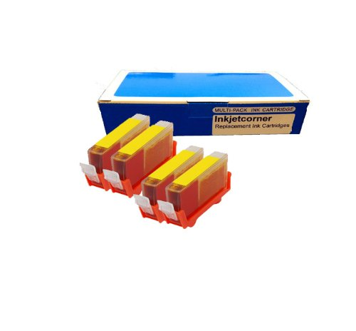 Inkjetcorner 4 Pack Yellow Compatible Ink Cartridge for Canon CLI-8Y Canon Pixma iP3300 iP3500 iP4200 iP4300 iP4500 iP5200 iP5200R iP6600D iP6700D MP500 MP530 MP600 MP610 MP800 MP800R MP810 MP830 MX850 MP950 MP510 MX700 MP950 MP960 MP970 Pro9000 Mark II