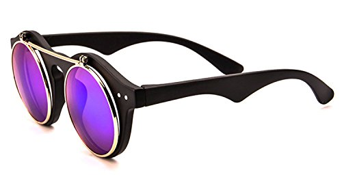 Classic Small Retro Steampunk Circle Flip Up Glasses / Sunglasses Cool Retro 2017 - Models Sunglasses Male With