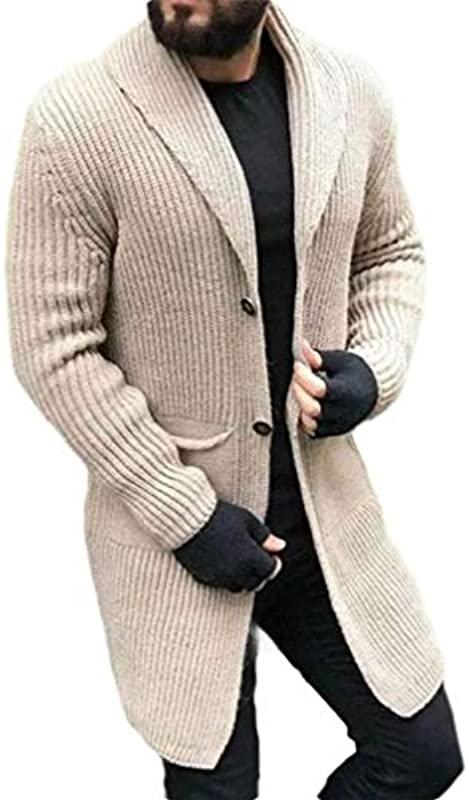 H&E Men's Shawl Collar Open Front Knit Long Sleeve Button Down Cardigan Coat: Odzież