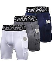 Roeam Compressieshorts voor heren, met zak, sportonderbroek, korte hardloopbroek, functioneel ondergoed, elastisch en ademend