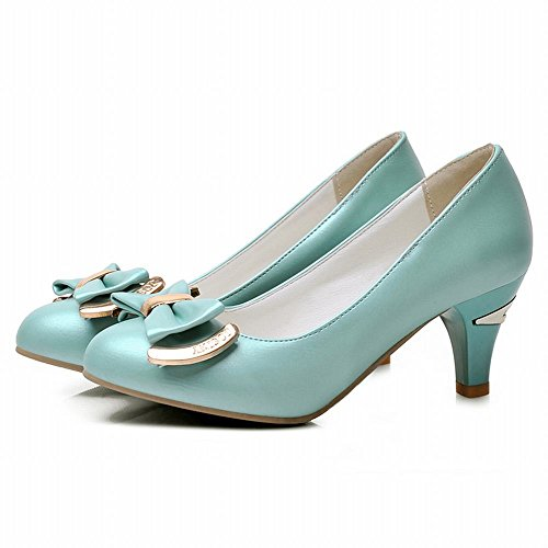 Carol Shoes Cute Womens Bows Candy Color Sweet Fashion Mid Chunky Heel Dress Pumps Shoes Blue Green aBDHImLog