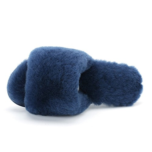 Navy Fur Fur Home Slippers Blue Sheepskin Lambskin Slippers Wool Millffy Shoes Slippers Home Slippers BZw7q