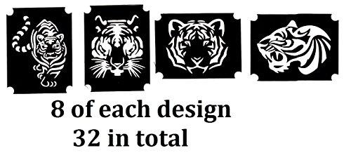 - Tiger Collection (32 Tattoo Glitter Airbrush Stencil Tiger)