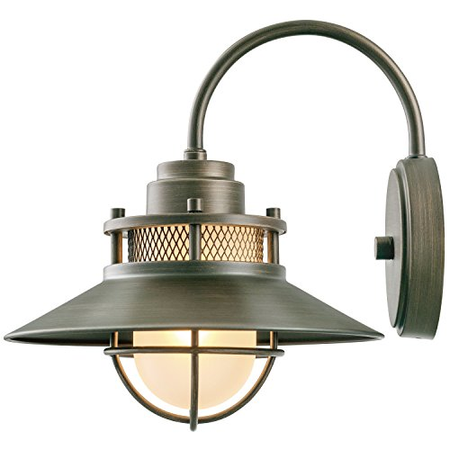 Globe Electric Liam Outdoor Wall Sconce, Bronze Finish, Frosted White Glass Shade, 44097