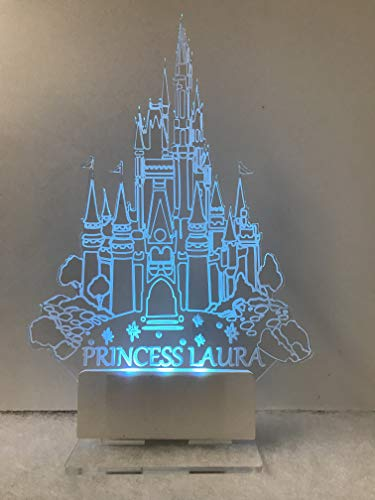 Cinderella Castle Cake Topper inspired with Multicolored LED light 7 different colors ()