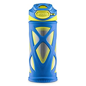 Zulu Echo BPA-Free Vacuum Insulated Stainless Steel Water Bottle with Flip Straw, Blue, 16 oz.