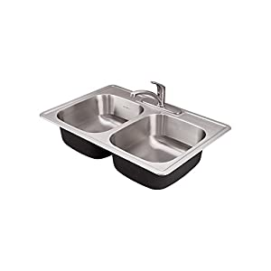 American Standard 22DB.6332283C.075 Colony Ada 33x22 Double Bowl Kitchen  Sink Kit With Faucet U0026 Drain, Stainless Steel