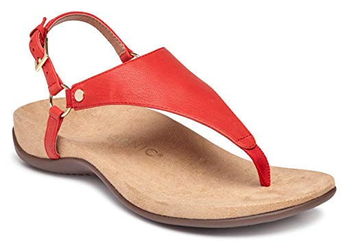 Vionic Women's Rest Kirra Backstrap Sandal - Ladies Sandals with Concealed Orthotic Arch Support Cherry 8 W US