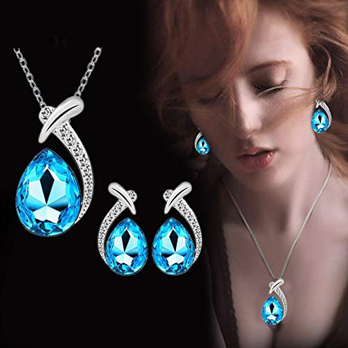 SuperXC Women Jewelry Sets Gold Plated Cubic Zirconia Drop Dangle Pendant Necklace and Earrings Set for Girls