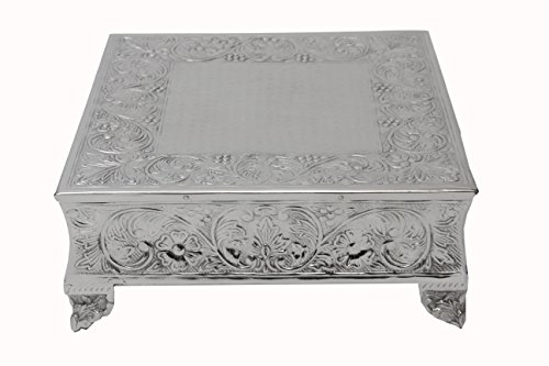GiftBay Creations 751-20S Wedding Square Cake Stand, 20-Inch, Silver