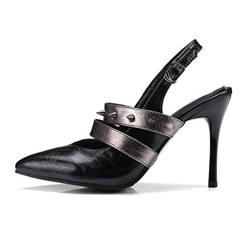 Carolbar Femmes Slingback Bout Pointu Sexy Pointes Boucle Stilettos Sandales Noir
