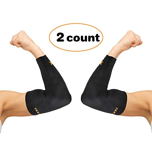 Thx4 Copper Elbow Compression Sleeve(1 Pair) - #1 Copper Infused Support -Guaranteed Recovery Copper Elbow Brace-Idea for Workouts, Sports, Golfers, Tennis Elbow, Arthritis, Tendonitis-X-Large
