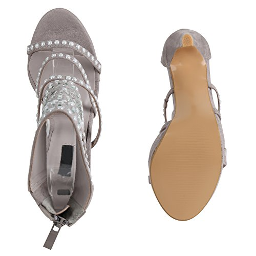 Stiefelparadies Damen Sandaletten High Heels Zierperlen Strass Stiletto Schuhe Flandell Grau