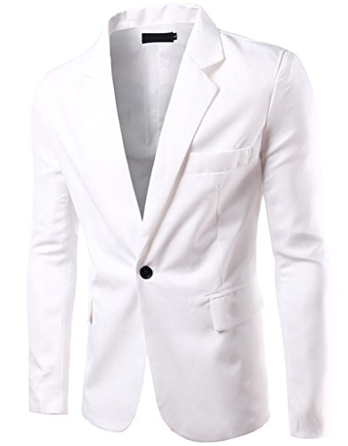 REYUY Mens Slim Fit Notched Lapel Single Breasted Suit Jacket White