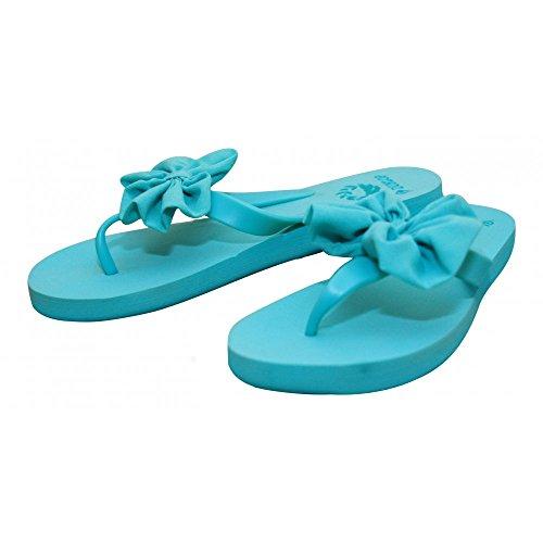 Dunlop con traje de neopreno para mujer de sándalo para mujer diseño de playa con cierre de cremallera en zapatos de chifón de cristal y lazo rosa Flip Flops azul - azul claro