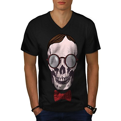wellcoda Hipster Glasses Skull Men Black XL V-Neck T-Shirt