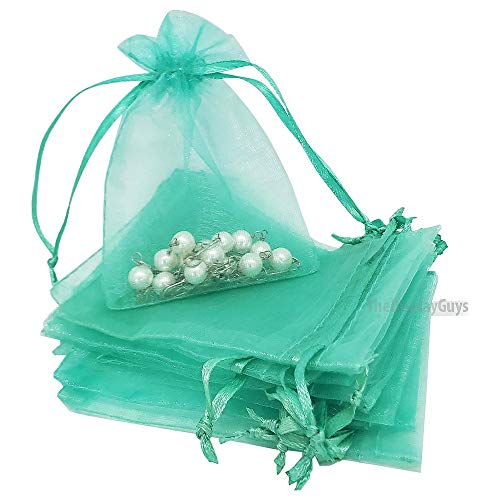 - The Display Guys 100-pc 3x4 Teal Sheer Organza Gift Bag with Drawstring, Jewelry Candy Treat Wedding Party Favors Mesh Pouch