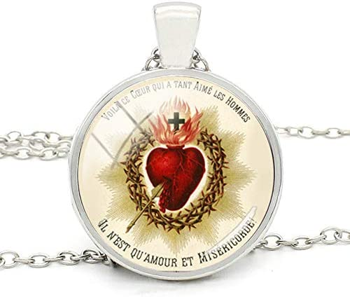 Sacred Heart Of Mary Pendant Necklace Glass Dome Mexican Religious Art Jewelry Gothic Gift