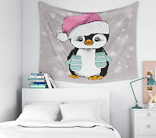 Douecish Wall Tapestry Hanging, Decoration Penguin in Santa Hat The Gloves for Bedroom Living Room Decor Wall Hanging Tapestry 60X50 inches
