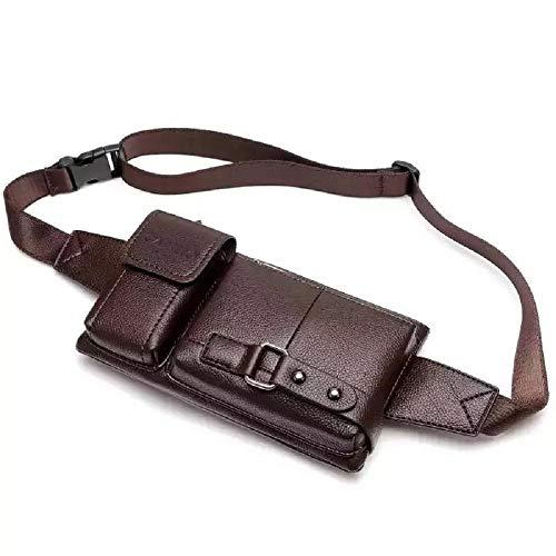 Men's Leather Sling Bag,Chest Shoulder Backpack, Water waterproof Crossbody Bag