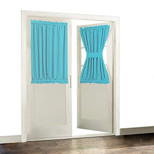 Aquazolax Patio Door Curtain Window Treatment Draperies for Privacy - Room Darkening 54x40 Inch Blackout French Glass Door Curtain Panels, 1 Piece, Turquoise