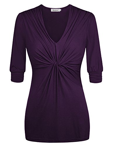 Ninedaily Women Blouse V Neck Pleated Front Half Sleeve Casual Top Purple XL