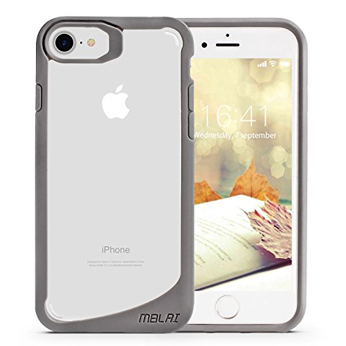 MBLAI iPhone 8 Case,iPhone 7 Case, Clear Transparent Protective Scratch Resistant Case Slim Fit Shockproof Bumper Air Space Cover for Apple iPhone 7 / iPhone 8 - Gray Transparent