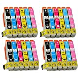 24 Pack 4 Full Sets of High Capacity Compatible Non Oem ink cartridges multipack T2438, For EPSON Expression Premium XP-55, XP-750, XP-850 , XP-760 , XP-860 , XP-950 and XP-960 Inkjet Printers FOR 24XL ELEPHANT SERIES. T2431 black, T2432 cyan, T2433 magenta, T2434 yellow, T2435 light cyan, T2436 light magenta Chipped by BVH Direct