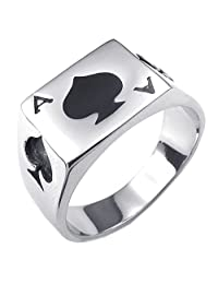 Konov Jewelry Mens Stainless Steel Ring, Poker Spade Ace, Black Silver, with Gift Bag, C24828